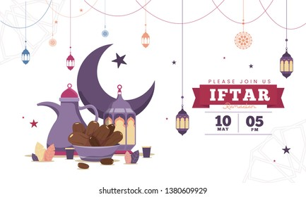 Blue flat design Iftar party celebration  flyer concept illustration. Sweet Dates, Fanous Lantern and Arabic coffee mug. Islamic Holy Month, Ramadan Kareem. Typography template for text
