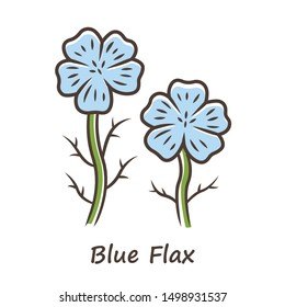 Blue flax plant color icon. Linen wild flower with name inscription. Spring blossom. Blooming linum wildflower inflorescence. Isolated vector illustration
