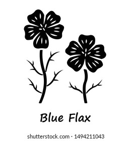 Blue flax plant glyph icon. Linen wild flower with name inscription. Spring blossom. Blooming linum wildflower inflorescence. Silhouette symbol. Negative space. Vector isolated illustration