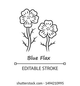 Blue flax plant linear icon. Thin line illustration. Linen wild flower with name inscription. Spring blossom. Blooming linum wildflower inflorescence. Vector isolated outline drawing. Editable stroke