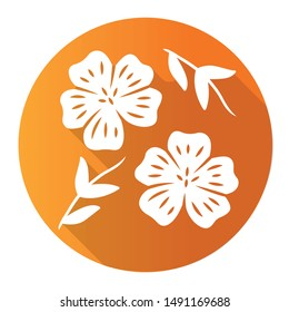 Blue flax plant orange flat design long shadow glyph icon. Linen wild flower. Spring blossom. Blooming linum wildflower. Vector silhouette illustration