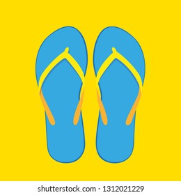 blue flip flops summer collection swim wear isolated on yellow background vector illustration EPS10