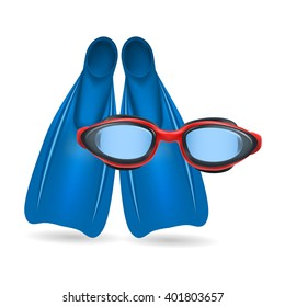 Blue flippers and red swimming glasses isolated on white background. Realistic vector illustration.