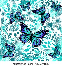 Blue floral background with butterflies. Beautiful background print for fabric. Vector illustration