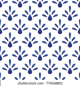 blue floral ceramic pattern vector, cut seamless porcelain design