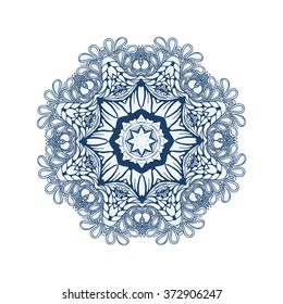 blue floral circle pattern. Background in the style of Chinese painting on porcelain. Ornamental design element. Pattern endless fragments.
