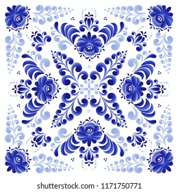 A blue floral ornament in a square suitable for the design of a shawl, tiles, tablecloths, plates. Made in the Russian folk style Gzhel