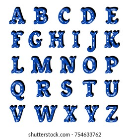 Blue floral ornate isolated letters spanish style alphabet