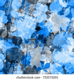 Blue floral seamless background with stripes and leaves. Abstract pattern. Watercolor effect. Transparency. Overlay. Overlap