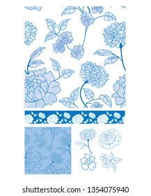 Blue Floral Seamless Patterns and Icons