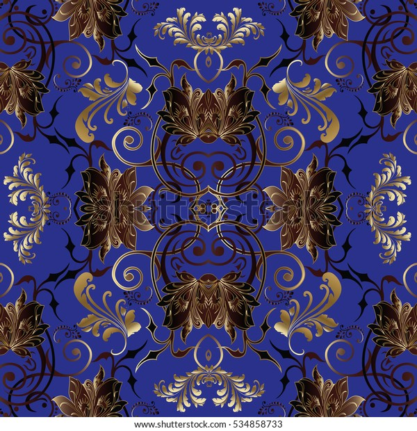 Blue Floral Vector Seamless Pattern Background Stock