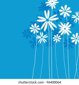 Blue  flower background for art projects, pamphlets, brochures or cards