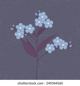 Blue flower in flat style