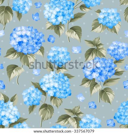 Blue Flower Hydrangea Seamless Background Mop Stock Vector Royalty