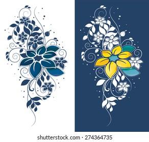 Blue flower motif set, Flower design elements vector set with big flower.