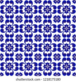 blue flower pattern, ceramic seamless porcelain background, beautiful tile design, vector illustration