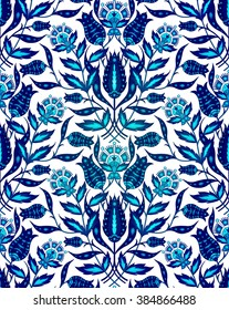 Blue flower seamless pattern. Vector, EPS 10
