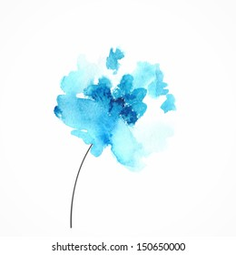 Blue flower. Watercolor floral illustration. Floral decorative element. Vector floral background.
