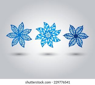 Blue flower. Watercolor floral illustration. Vector