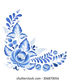 Blue flowers floral Russian porcelain beautiful folk ornament. Vector illustration. Corner composition decor.