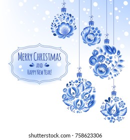 Blue flowers gzhel baubles background. Decorative christmas tree balls. Holiday greeting card design. Russian style.