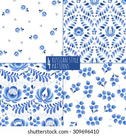 Blue flowers and leaves floral russian porcelain beautiful folk ornament. Vector illustration. Seamless pattern background.