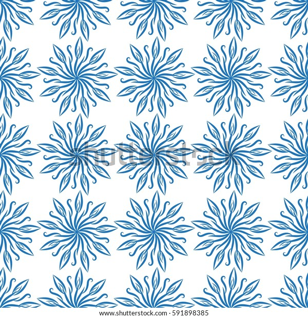 Blue flowers pattern. Abstract vector illustration.