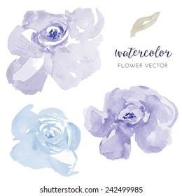 Blue Flowers Vector Watercolor Florals