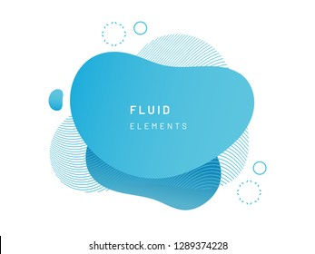 Blue fluid blob for card background. Azure liquid stain in dynamic color. Free geometrical shape for flyer. Cerulean aqua blotch with wavy lines. Abstract gradient banner template