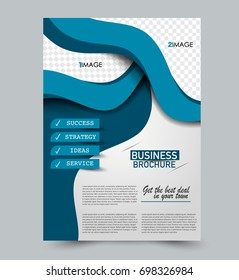 Blue  flyer vector design template set. Business brochure. Annual report or magazine cover.