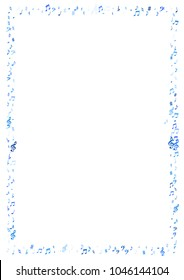 Blue flying musical notes frame isolated on white background. Stylish musical notation symphony signs, notes for sound and tune music. Vector symbols for melody recording, prints and back layers.