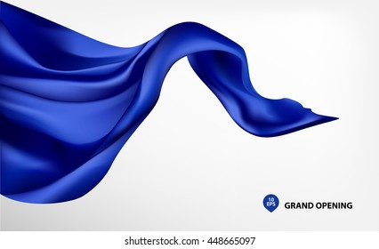 Blue flying silk fabric on white background for grand opening ceremony