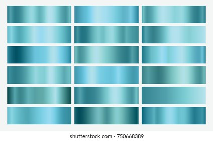 Blue foil texture background set. Vector turquoise elegant, shiny and metal gradient collection for border, frame, ribbon, label design.