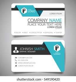 Blue fold modern creative business card and name card,horizontal simple clean template vector design, layout in rectangle size.