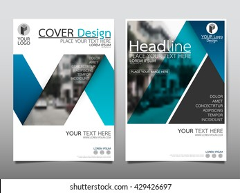 Blue fold ribbon technology annual report brochure flyer design template vector, Leaflet cover presentation abstract geometric background, layout in A4 size
