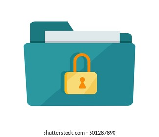 Blue folder lock icon on white background. File protection. Data security and privacy concept. Safe confidential information. Vector illustration in flat style.