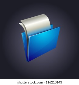 blue folder with paper