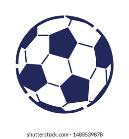 Blue Football Ball in Flat Style Isolated on White Background. Vector Illustration