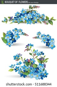 Blue forget me not spring flowers in bouquet for wedding. Decorative element for greeting card