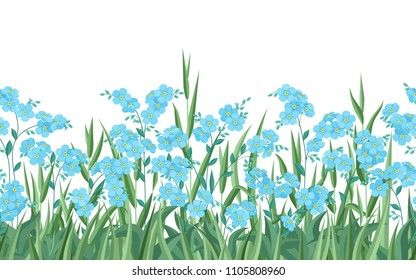 Blue forget-me-nots and grass. Seamless horizontal pattern on white isolated background.