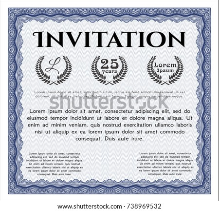 Blue Formal Invitation Background Money Design Stock Vector Royalty