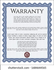 Blue Formal Warranty Certificate template. With guilloche pattern and background. Customizable, Easy to edit and change colors. Beauty design.