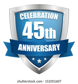 Blue forty-five year anniversary shield