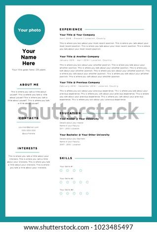 blue frame creative colorful cv resume stock vector royalty free