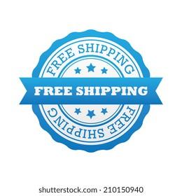 Blue Free Shipping Badge