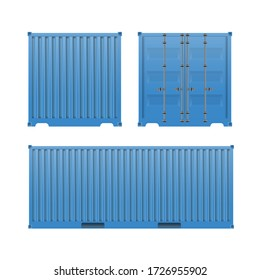 Blue freight container. Large container for a ship isolated on a white background. Front and side view. Vector.