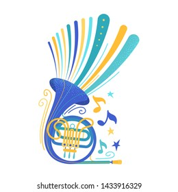 Blue french horn flat vector illustration. Brass instrument isolated clipart. Woodwind ensemble professional equipment. Classical music concert, jazz band performance poster design element