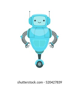 Blue Friendly Android Robot Character With Two Antennas Vector Cartoon Illustration