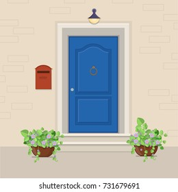 Blue front door with a mailbox on the wall and flowers in the pots. Vector illustration in flat style