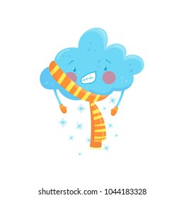 Blue frozen cloud with snow wearing stripped orange scarf and mittens. Cold temperature. Cartoon weather character. Flat vector element for print, mobile app or sticker